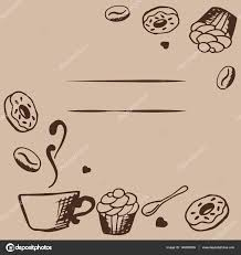 coffee shop background design vector card design with hand drawn coffee and dessert illustration