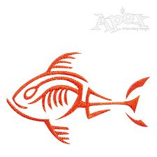 tribal fish bones embroidery design