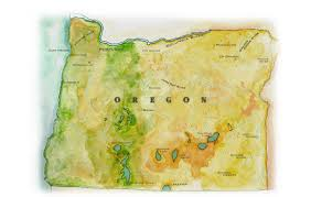 A Map Of Oregon by Oregon Map Handpainted Antique Map