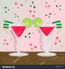 pink cosmopolitan drink vector illustration logo alcohol cocktails martini stock vector
