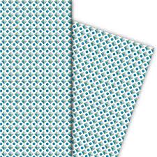 Muster Blau Grün Kultiges Geschenkpapier Mit Retro Muster Blau Gr禺n 4 B禧 32