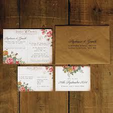 postcard wedding invitations floral illustration postcard invitation by feel wedding