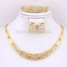 gold set for marriage hot sale pearl africa necklace set 18k gold plated clear