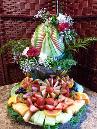 carved bridal bridal shower fruit platter and display fruit carving