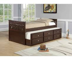 Twin Captains Bed With Drawers Twin Mission Captain U0027s Trundle Bed Cappuccino By Donco Kids