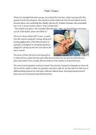 plastic surgery reading worksheet free esl printable worksheets
