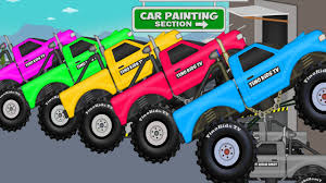 bigfoot presents meteor and the mighty monster trucks coloring big monster trucks ext learning colors video for kids