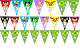 printable angry birds birthday banner spells happy birthday