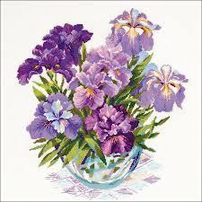 Vase With Irises Riolis Irises Cross Stitch Kit 123stitch Com