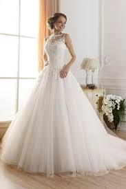 wedding dresses fluffy 2015 illusion boat neck a line sheer lace wedding dresses