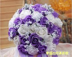 wedding flowers purple beautiful wedding bouquet artificial 30 flowers purple
