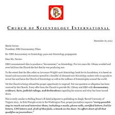 letters sent from the church to alex gibney and hbo