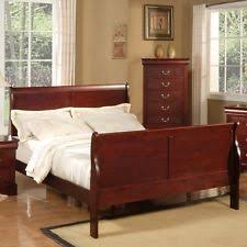 queen sleigh bed frame headboard footboard cherry vintage wood