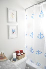 Nautical Bathroom Curtains Blue And White Nautical Shower Curtain Diy Pretty Easy For