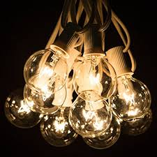 amazon com 25 foot g40 clear globe string lights white wire
