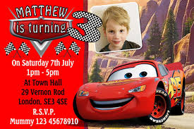 cars movie 10 personalised cars movie mcqueen lightning birthday invitations
