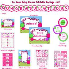 seuss baby shower deluxe printable package pink purple
