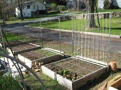 layout of square foot garden trellis for peas and beans was