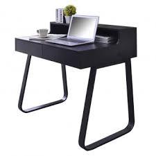 bureau informatique en bois et métal noir avec tiroirs