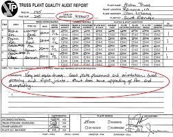 layout inspection report aloha lumber and truss inc our report card timber products