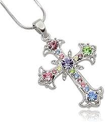 crystal cross pendant necklace images Pastel yellow blue pink purple green crystal cross jpg