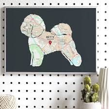 poodle x bichon frise personalised map with bichon frise by well bred design