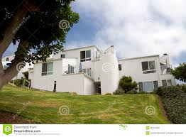 modern white houses on a hill in california stock photo image