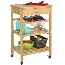 rolling bamboo kitchen island storage cart with wine rack drawer