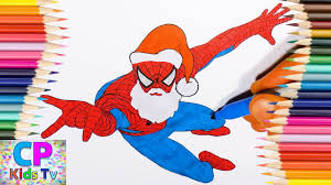 santa clause spiderman coloring pages kids color