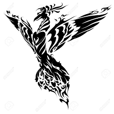 blazing bird phoenix tattoo royalty free cliparts vectors and