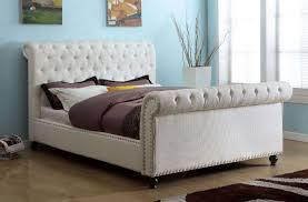 White Sleigh Bed Furniture Of America Cm7603wh Q Bennett Transitional White Finish