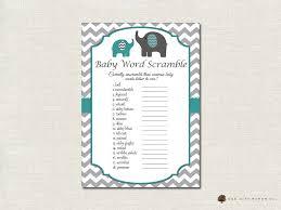 baby shower word scramble elephant theme baby shower baby