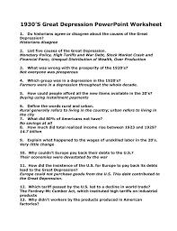 1930 u0027s great depression powerpoint worksheet
