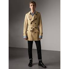 mid length the kensington mid length trench coat in honey men burberry