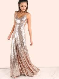sequin dress backless sequin cami maxi dress gold shein sheinside
