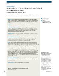 music in the pediatric emergency department humanities jama