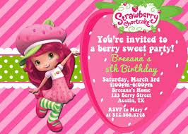 pink birthday invitations strawberry shortcake birthday invitation