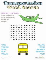 word search transportation worksheet education com