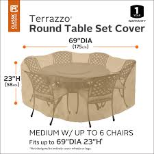 Round Patio Table Cover With Zipper by Classic Accessories Terrazzo Round Patio Table U0026 Chair Set
