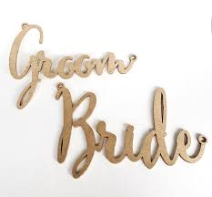 Bride And Groom Chair Signs Rental Bride And Groom Gold Chair Signs For Sweetheart Table