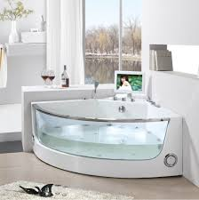Deep Whirlpool Bathtubs Modern Corner Soaking Tub With Glass And Innovative Mini Tv