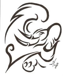 elephant tribal head tattoo design