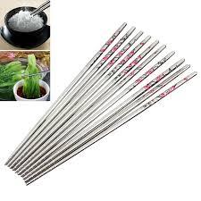 chinois à la cuisine 10 paires acier inoxydable rond chinois baguettes prune fleur motif