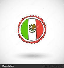 Mexico Flag Symbol Mexican Flag Vector Icon With Round Shadow U2014 Stock Vector