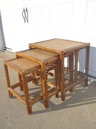 vintage rattan nesting tables set of 3 vintage nesting tables faux bamboo rattan chinoiserie