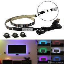 5v usb rgb led strips light tv black pcb waterproof 1m 30leds smd