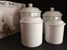 thl kitchen canisters basic white 4 canister set lids seals box kitchen storage