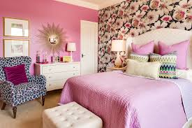 eclectic bedroom with wallpaper and sunburst mirror fantastic