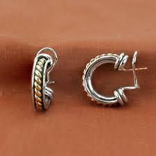 earrings brands david wysor sterling silver 18k yellow gold large braided hoop