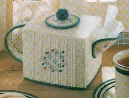 country teapot tissue box cover plastic canvas pattern